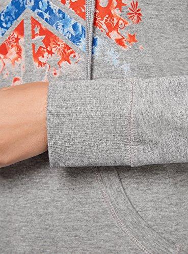 oodji Ultra Damen Kapuzenpullover mit Druck Grau (2345Z)