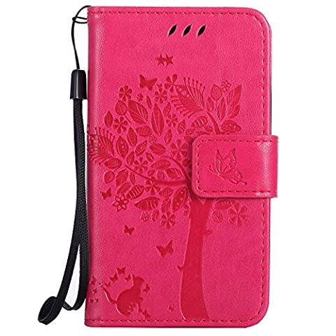 Nokia Lumia 435 Case Leather [Rose red], Cozy Hut [Wallet Case] Premium Soft PU Leather Notebook Wallet Embossed Flower Tree Design Case with [Kickstand] Stand Function Card Holder and ID Slot Slim Flip Protective Skin Cover for Microsoft Lumia 435 / N435 4,0 inch - Rose