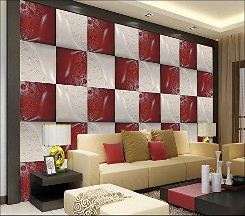 Yosot 3D Tapeten Eigenes Foto Wandbild Wohnzimmer Roten Und Weißen Leder Schnitzerei Malerei Fernseher Sofa Hintergrund Wand Vliestapeten-200Cmx140Cm -