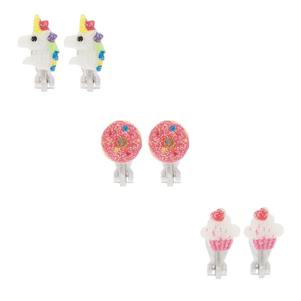 Claire's Glitter Sweet Unicorn Clip on Stud Earrings for Girls, Rainbow, Cute Jewellery for Girls, 3 Pack