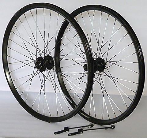 26 Zoll Fahrrad Laufradsatz Dynamic 4 Hohlkammerfelge schwarz Shimano Deore 525 schwarz Niro schwarz REFLEX