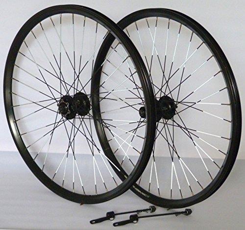 26 Zoll Fahrrad Laufradsatz Dynamic 4 Hohlkammerfelge schwarz Shimano Deore 525 schwarz Niro schwarz REFLEX (Fahrrad Felgen 26)