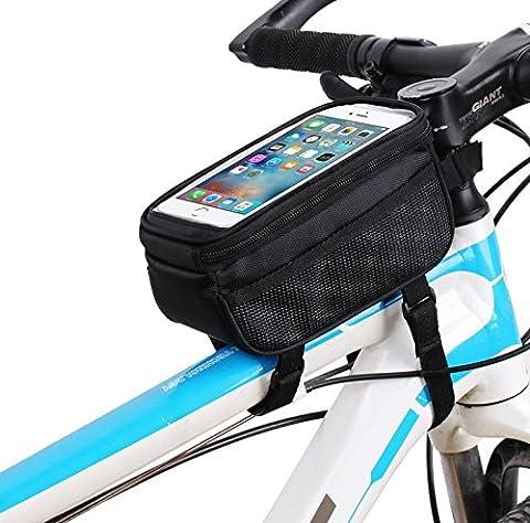 Noir Guidon de vélo Cadre sacoche avant Top Tube Bag Pack Pouch pour iPhone 7Plus/Samsung Galaxy S8/S7Edge/A5J3J5/LG G6/G5/LG K4K8/LG X Cam/Motorola Moto G4G5G5S Plus/E4Plus