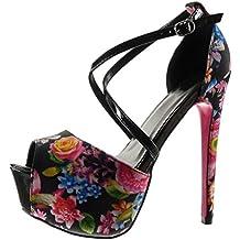 da83ab8c85e1 Angkorly - Chaussure Mode Escarpin Sandale Stiletto Plateforme Sexy Femme  Fleurs lanière Talon Haut Aiguille 15