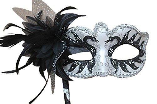 Schwarz und Silber Perlglanz Blume u. Federn Venezianische Maskerade Partei Karneval Maske auf einem Stick