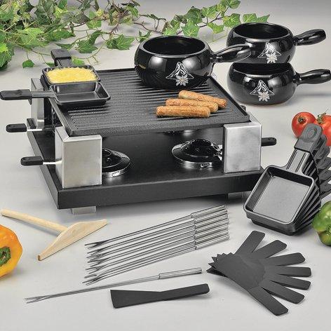 Set für Fondue, Raclette, Tischgrill und Crêpes 'Swiss Gourmet'