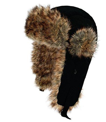 Militär Ball Cap (Fiebig Jungenfliegermütze Fliegermütze Pilotenmütze Fellmütze Pelzmütze Wintermütze Baumwolle einfarbig für Kinder (FI-71291-W16-JU0-18-52) in Schwarz, Größe 52 inkl. EveryHead-Hutfibel)
