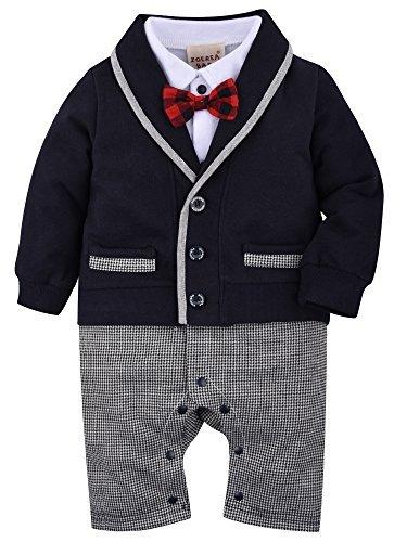 rampler Smoking für Jungen Kleinkind Kleidung rompers Body Kleidung Gentleman Gesamt Baumwolle Langarm bowknot Plaid Streifen Drucken baby Taufe Hochzeit Weihnachten 60 (3-6 Monate) (Weihnachten-jungen-kleidung)