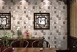 QXLML Tapete Retro Nostalgie chinesischen Stil 3D Ziegelsteinmuster PVC Tapete Wohnzimmer TV Hintergrund Wand Teehaus Taupe Tapete 10 * 0.53 (M)