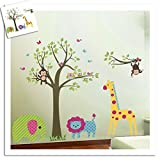Malilove Lion Giraffe Eule Tiere Wand Aufkleber Für Kinder Zimmer Dekorationen Diy Zoo Tree Home Aufkleber Wandmalerei Kunst