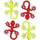 Com-Four Lot de 4x Kit de crochet mural à ventouse Gecko en différentes couleurs