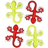 COM-FOUR® 4x Gecko-Saugnapf-Wandhaken, groß, 9 x 6,5 cm, mit höhrer Saugkraft, in verschiedenen Farben (4 Stück groß)
