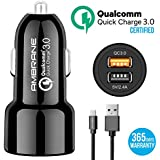Ambrane ACC-11QC Instant 5.4A Dual Port Car Charger (Qualcomm Certified) With Quick Charge 3.0 + Free Micro USB Cable - (Black)
