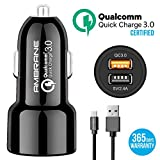 #5: Ambrane ACC-11QC Instant 5.4A Dual Port Car Charger (Qualcomm Certified) with Quick Charge 3.0 + Free Micro USB Cable - (Black)