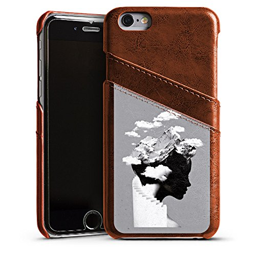 Apple iPhone X Silikon Hülle Case Schutzhülle Silhouette Kopf Wolken Leder Case Kastanienbraun