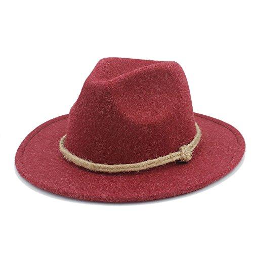 (XUJW-Hüte, Retro breiter breiter Fedor Hut der Wollfrauen für Laday-Kaschmir-Jazz-Kirchen-Kappe Herr Panama-Sombrero-Spitzenhut Hanfseil ( Color : 5 , Size : 57-58cm ))