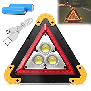 LED Work Light 30W Triangle Rechargeable Portable Waterproof Emergency Security Warning Lamp 4 Lighting Modes (High, Low, Red, Flash) for Car Outdoor Camping Fishing Hiking
