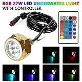 leaningtech 27W RGB LED DRAIN PLUG LIGHT BOAT Unterwasser Fernbedienung Tauchen Angeln Lampe Deck/marine/Boot wasserdicht Farbwechsel