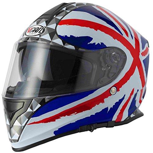 VCAN V127KORU Gran Bretagna, Hollow,, Lightning, tinta unita Casco Integrale da Moto con interna Parasole a caduta