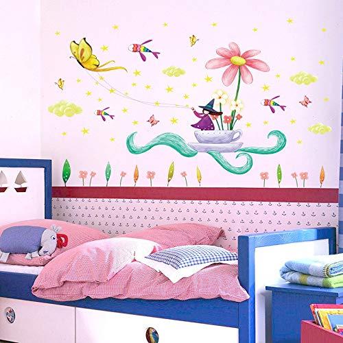 ELGDX Cartoon Blume und Schmetterling Halloween Hexe Wandaufkleber Ausgangsdekor Kinder Haus Aufkleber - Hexe Kraut