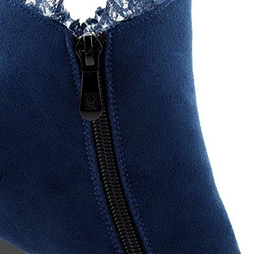 AllhqFashion Damen Rund Zehe Hoher Absatz Knöchel Hohe Eingelegt Stiefel mit Beschlagene Strass Blau