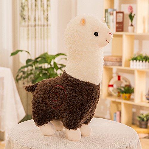 Zinsale Niedlich Alpaka Plüschtier Puppe Schaf Plüsch Kissen Stofftiere (Braun, 28cm)