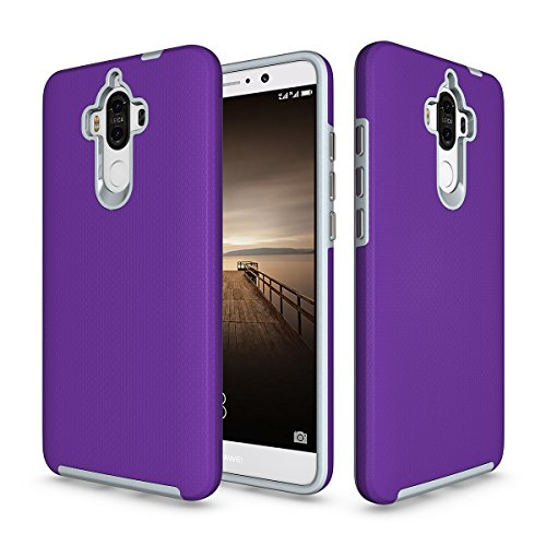 P9 Plus Coque,EVERGREENBUYING Ultra Slim léger 2 en 1 P9+ Cases Housse Etui de protection Anti-dérapant hybride Cover pour Huawei P9 Plus Violet Violet