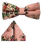 GASSANI 2-SET Vintage Rosa Fliege geblümt - fertig gebunden m Doppelflügel - Hochzeitsfliege retro festlich Herrenfliege Schleife - Kavalierstuch