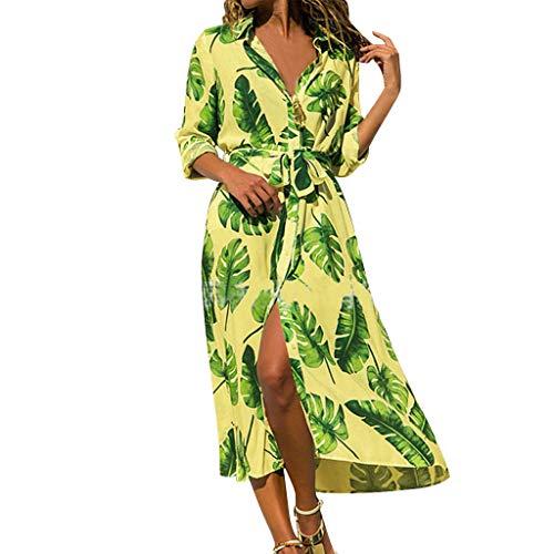 LSAltd Sommer-Frauen-Art- und Weiseblatt-Druck drehen unten Kragen-langes Hülsen-Knopf-Strand-langes Kleid mit Gurt um