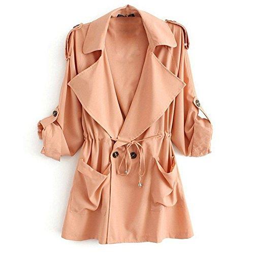 Minetom Damen Herbst Trenchcoat Mantel Langärmlig Revers Jacke Outwear ( Rot EU M )
