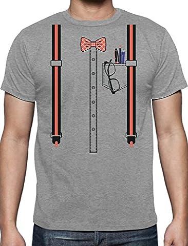 Déguisement d'intello, Geek costume Halloween T-Shirt Homme Medium Gris Chiné