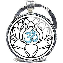 Llavero, diseño de Om, Yoga clave cadena, color blanco, con flor, flor de loto Om símbolo, Zen, Budismo, Yoga de regalo de encanto llavero