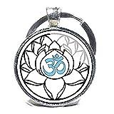 Llavero, diseño de Om, Yoga clave cadena, color blanco, con flor, flor de loto Om...