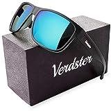 Occhiali Da Sole Polarizzati Da Uomo - Ideali Per Guidare - Montatura Confortevole Con Protezione UV - Custodia Inclusi - Lenti Specchiate Blu