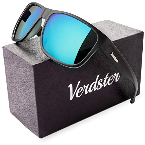 Verdster Polarisierte Sonnenbrillen für Herren und Frauen - Spezielle TourDePro Gläser - Zubehöretui - UV400 Schutz - Ideal für Städtetouren (Schwarz, Blau)