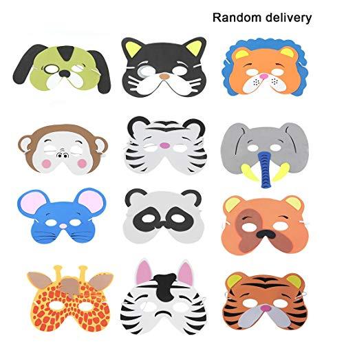Laurelmartina 12 UNIDS/Set Divertido EVA Niños de Dibujos Animados Máscaras de Animales Viste Disfraz Zoo Jungle Party Supplies para Niños (Patrón Aleatorio)