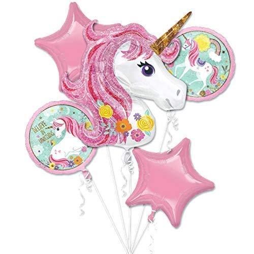 Unicornio tema fiesta suministros unicornios Kids Globo de cumpleaños ramo decoraciones 5 piezas