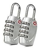 2x Baxxtar Living -- TSA Koffer Schloss -- 4 Fach Zahlenschloss (Silber)