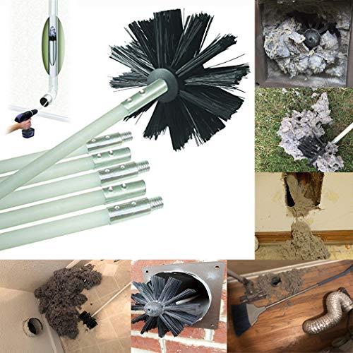 Syeytx Dryer Kanalreinigungsset Fusselentferner bis zu 12 Fuß Synthetikbürste Boilerbürste Kaminbürste Kopf