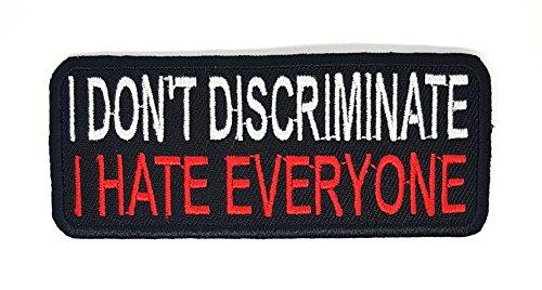 I don 't Diskriminierung, I Hate alle, Motorrad Biker Riding Sage Weiß Rot Patch   Stickerei Hohe Qualität Eisen auf Sew auf Patch Abzeichen für Kleidung Jacken T-Shirts Mäntel Taschen Hüte Geldbeutel