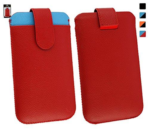Emartbuy® Genuine Calfskin Leder Rot/Blau In Hülle Case/Tasche Hülle schieben (Größe 4XL) mit CRotit Card Slot und Pull Tab Mechanismus für geeignet Oppo N1 Mini