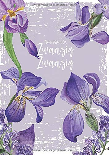 Mein Kalender Zwanzig Zwanzig: Wochenplaner - personal Organizer - 1 Woche auf 2 Seiten - Monatsübersichten, Mondphasen, Register - Orchideen flieder - 160 Seiten - DIN A5 -
