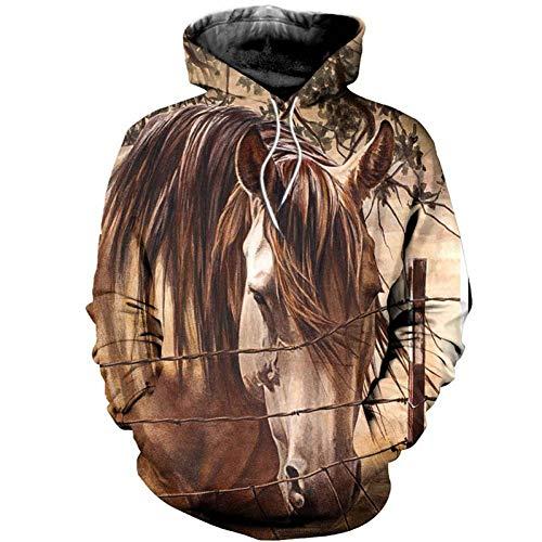 WZYDWY Pferd Sweatshirt Männer Benutzerdefinierte Hoodie 3D Print Hoodies KleidungStreet Wear Animal Print Langarm (Benutzerdefinierte Hoodie Sweatshirts)