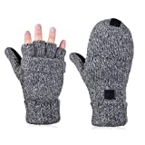 Vbiger Winter Handschuhe Fingerlose Fäustlinge Damen Fingerhandschuhe Fingerlos Halb Handschuhe Strick Handschuhe mit Flip Top, Grau, Einheitsgröße