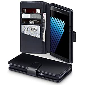 TERRAPIN Galaxy Note 7 Case Samsung Galaxy Note 7 Leather Case - GENUINE LEATHER - Executive Folio Wallet Cover Flip - Card Slots - Bill Compartment - Black