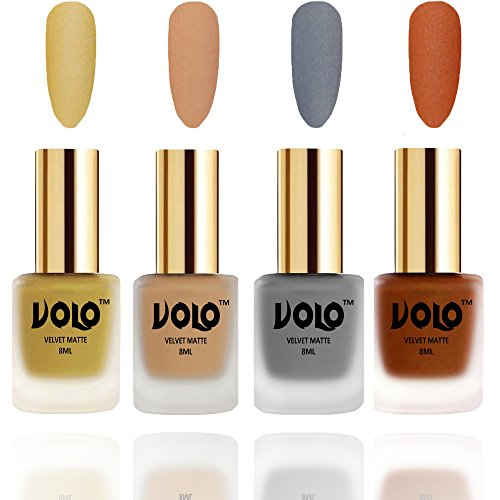 VOLO Velvet Matte Nail Polish Metallic Goldan,Skin Nude,Grey and Metallic Coral Pack Of 4 (8 Ml Each)