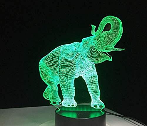 Happy Elephant 7 Farbwechsel Tier 3D LED-Licht 3D Nachtlicht Schlafzimmer Bücherregal Nachtlicht Dekoration kreative giftsCreative 7 Farbwechsel Fernbedienung Lichter -