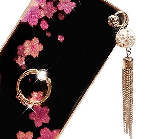Für iPhone 6 Hülle, Vandot Ultra Slim Luxury glitter Crystal Bling Funkeln Diamond Box mit Anhänger schöne Boden Blumen von Cherry von Ring Soft TPU Silikon Cover Case für iPhone 6 Flower-4