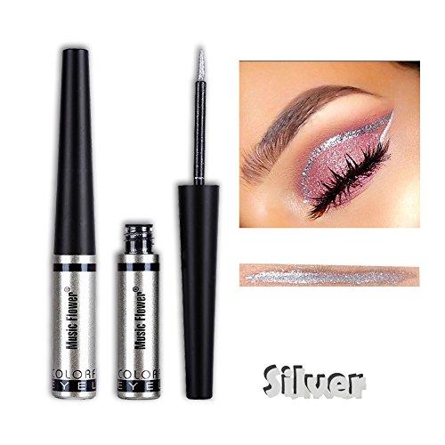 Glitzer Liquid Eyeliner Metallic Pigment Wasserdichte Lidschatten Silber