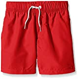 Miami Beach Swimwear Jungen Badeshorts in Unifarben, Rot (Chinese Red 304), 128